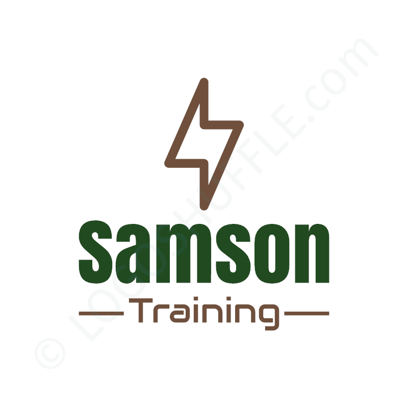 Logo idea: company name with symbol above and slogan - logo design example for sportsmen