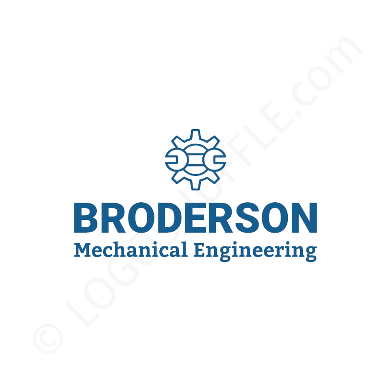 Logo idea: company name with symbol above and slogan - logo design example for technician